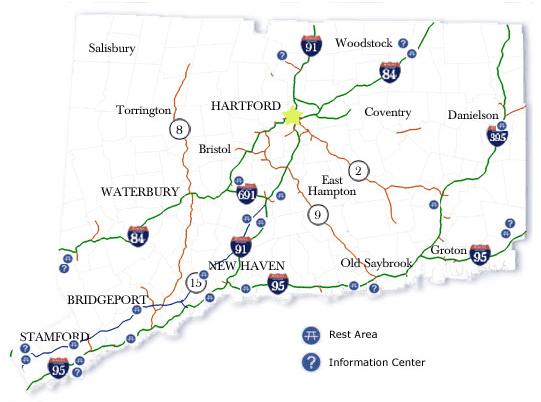 connecticut rest area map